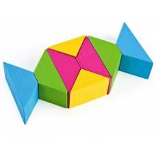 Деревянная игрушка Конструктор Цветные треугольники ТОМИК 6677