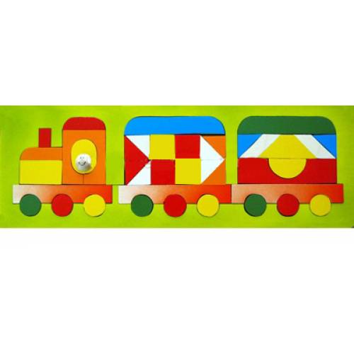 Деревянная игрушка Мозаика Паровозик-геометрик КРОНА 143-051