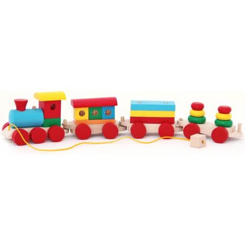 Деревянная игрушка Паровоз и 3 вагона (пасажир., плитовоз, 2 пирамидки) KOMAROVTOYS Р 201