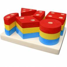Деревянная игрушка Пирамидка Гео макси KOMAROVTOYS А 308