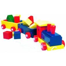 Деревянная игрушка Поезд большой с двумя вагонами и конструктором BINO 82141