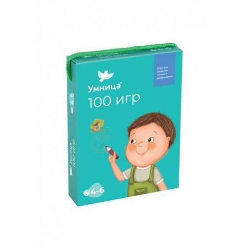 100 игр Развивающие игры с многоразовыми карточками для детей 4-6 лет УМНИЦА У4012