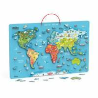 Пазл магнитный Viga Toys Карта мира с маркерной доской, на английском 44508