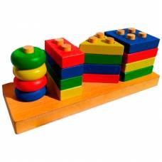 Деревянная игрушка Сложная пирамида Геометрик Вундеркинд П-022