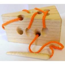 Деревянные игрушки Шнуровка Сыр с деревянной иголкой Вундеркинд Ш-030